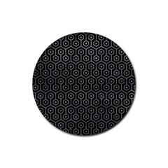 Hexagon1 Black Marble & Gray Leather Rubber Round Coaster (4 Pack)