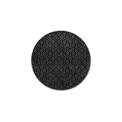 Hexagon1 Black Marble & Gray Leather Golf Ball Marker (4 Pack)