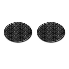 Hexagon1 Black Marble & Gray Leather Cufflinks (oval)