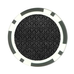 Hexagon1 Black Marble & Gray Leather Poker Chip Card Guard (10 Pack)