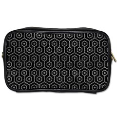Hexagon1 Black Marble & Gray Leather Toiletries Bags