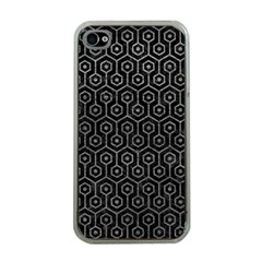 Hexagon1 Black Marble & Gray Leather Apple Iphone 4 Case (clear)