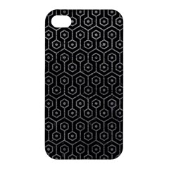Hexagon1 Black Marble & Gray Leather Apple Iphone 4/4s Premium Hardshell Case