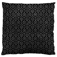 Hexagon1 Black Marble & Gray Leather Large Cushion Case (two Sides)