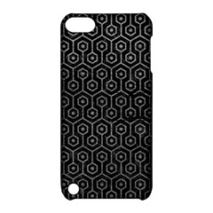 Hexagon1 Black Marble & Gray Leather Apple Ipod Touch 5 Hardshell Case With Stand