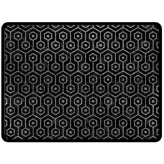 Hexagon1 Black Marble & Gray Leather Double Sided Fleece Blanket (large)