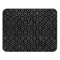 Hexagon1 Black Marble & Gray Leather Double Sided Flano Blanket (large)