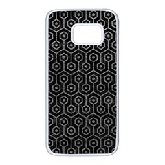 Hexagon1 Black Marble & Gray Leather Samsung Galaxy S7 White Seamless Case