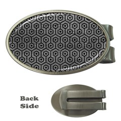 Hexagon1 Black Marble & Gray Leather (r) Money Clips (oval)