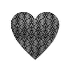 Hexagon1 Black Marble & Gray Leather (r) Heart Magnet