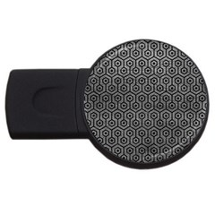 Hexagon1 Black Marble & Gray Leather (r) Usb Flash Drive Round (2 Gb)