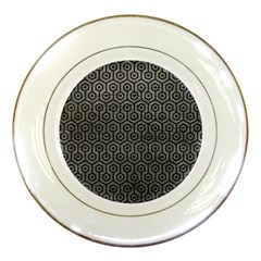 Hexagon1 Black Marble & Gray Leather (r) Porcelain Plates