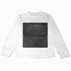 Hexagon1 Black Marble & Gray Leather (r) Kids Long Sleeve T Shirts