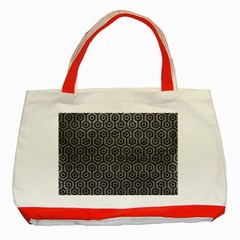Hexagon1 Black Marble & Gray Leather (r) Classic Tote Bag (red)