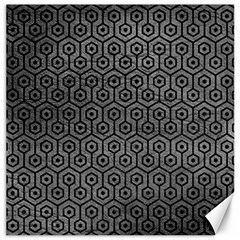 Hexagon1 Black Marble & Gray Leather (r) Canvas 20  X 20