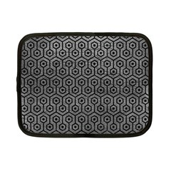 Hexagon1 Black Marble & Gray Leather (r) Netbook Case (small)