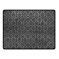 Hexagon1 Black Marble & Gray Leather (r) Fleece Blanket (small)