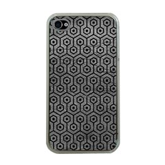 Hexagon1 Black Marble & Gray Leather (r) Apple Iphone 4 Case (clear)