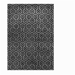 Hexagon1 Black Marble & Gray Leather (r) Large Garden Flag (two Sides)