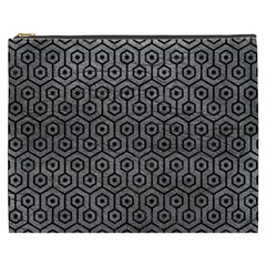 Hexagon1 Black Marble & Gray Leather (r) Cosmetic Bag (xxxl)