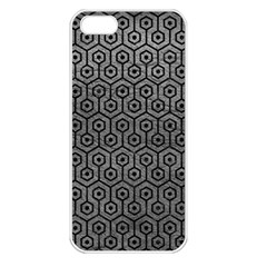 Hexagon1 Black Marble & Gray Leather (r) Apple Iphone 5 Seamless Case (white)