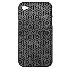 Hexagon1 Black Marble & Gray Leather (r) Apple Iphone 4/4s Hardshell Case (pc+silicone)