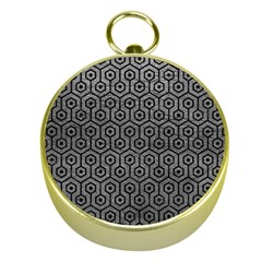 Hexagon1 Black Marble & Gray Leather (r) Gold Compasses