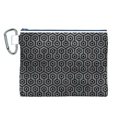 Hexagon1 Black Marble & Gray Leather (r) Canvas Cosmetic Bag (l)
