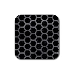 Hexagon2 Black Marble & Gray Leather Rubber Square Coaster (4 Pack)