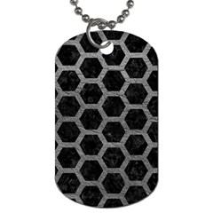 Hexagon2 Black Marble & Gray Leather Dog Tag (one Side)