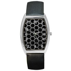 Hexagon2 Black Marble & Gray Leather Barrel Style Metal Watch