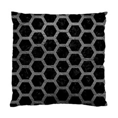 Hexagon2 Black Marble & Gray Leather Standard Cushion Case (one Side)