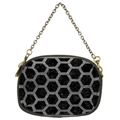 Hexagon2 Black Marble & Gray Leather Chain Purses (two Sides)