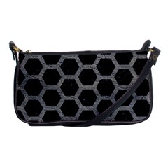 Hexagon2 Black Marble & Gray Leather Shoulder Clutch Bags
