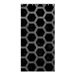 Hexagon2 Black Marble & Gray Leather Shower Curtain 36  X 72  (stall)