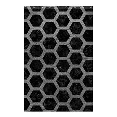 Hexagon2 Black Marble & Gray Leather Shower Curtain 48  X 72  (small)