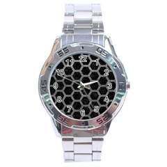 Hexagon2 Black Marble & Gray Leather Stainless Steel Analogue Watch