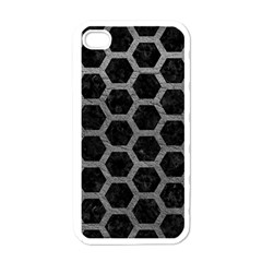 Hexagon2 Black Marble & Gray Leather Apple Iphone 4 Case (white)