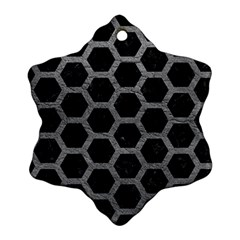 Hexagon2 Black Marble & Gray Leather Ornament (snowflake)