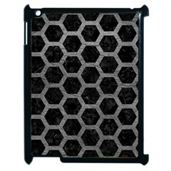 Hexagon2 Black Marble & Gray Leather Apple Ipad 2 Case (black)