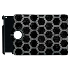 Hexagon2 Black Marble & Gray Leather Apple Ipad 2 Flip 360 Case
