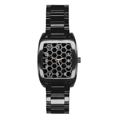 Hexagon2 Black Marble & Gray Leather Stainless Steel Barrel Watch