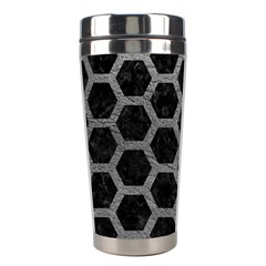 Hexagon2 Black Marble & Gray Leather Stainless Steel Travel Tumblers