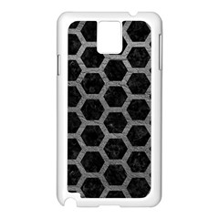 Hexagon2 Black Marble & Gray Leather Samsung Galaxy Note 3 N9005 Case (white)