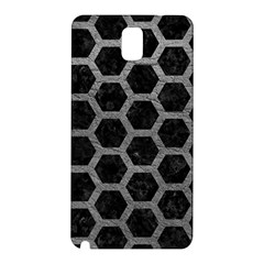 Hexagon2 Black Marble & Gray Leather Samsung Galaxy Note 3 N9005 Hardshell Back Case