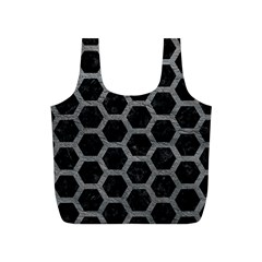 Hexagon2 Black Marble & Gray Leather Full Print Recycle Bags (s)
