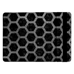 Hexagon2 Black Marble & Gray Leather Samsung Galaxy Tab Pro 12 2  Flip Case