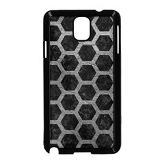 Hexagon2 Black Marble & Gray Leather Samsung Galaxy Note 3 Neo Hardshell Case (black)
