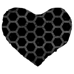 Hexagon2 Black Marble & Gray Leather Large 19  Premium Flano Heart Shape Cushions