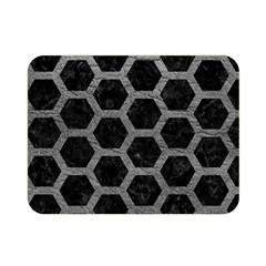 Hexagon2 Black Marble & Gray Leather Double Sided Flano Blanket (mini)